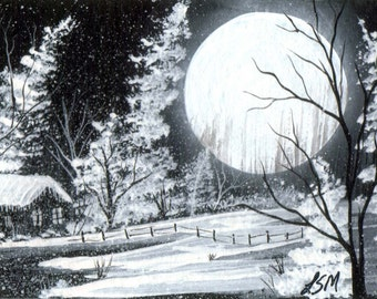 Winter Landscape Moon Rise ACEO Print Black and White, M6-6