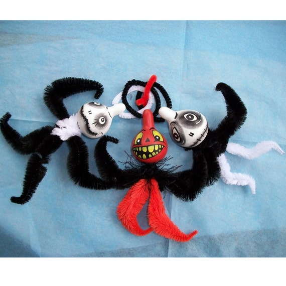 Spooky Gourd Trio Haunted Halloween Ornaments by L. Mihaly - MHATEAM - 2h