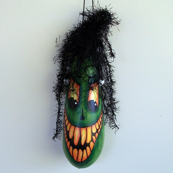 Halloween Gourd Ornament, Hand Painted gourd, EVIL Haunted Swamp 1a