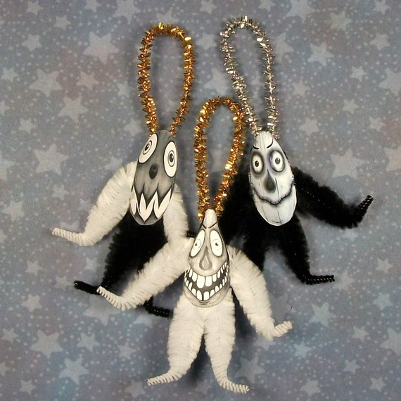 Scary Black and White Haunted Halloween Chenille Ornaments (58h)