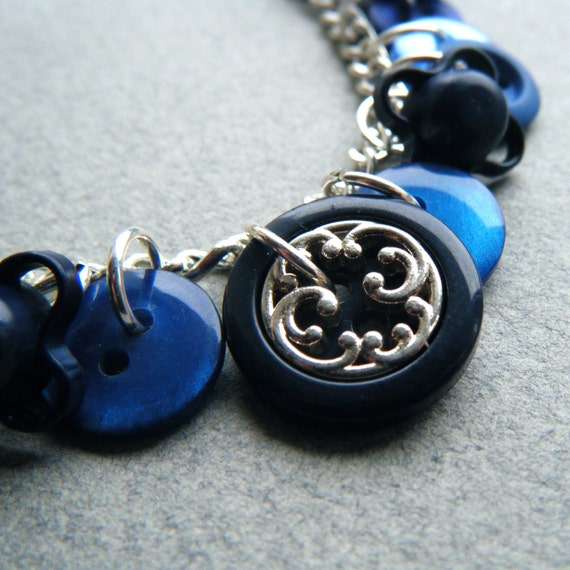Cornflower. Handmade Blue Button Necklace.