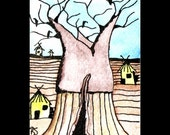 Original ACEO Vultures in the Baobab Tree, acrylic and ink