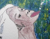 Original hand drawn ACEO, woman with silver feather