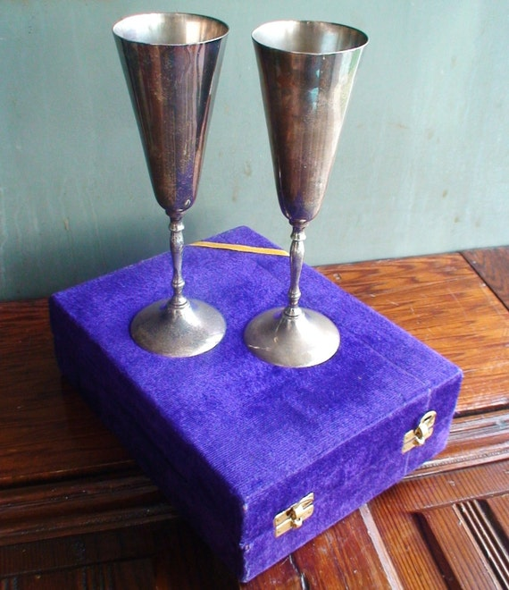 Vintage Silver Toasting Goblets-qty 2