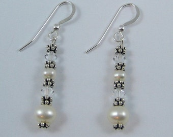 Crystal Colored Swarovski Crystal and Pearl Earrings (E111a)