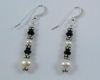 Black Swarovski Crystal and Pearl Earrings (E108a)