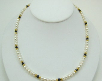 Black Swarovski Crystal and Pearl Necklace (NV10)