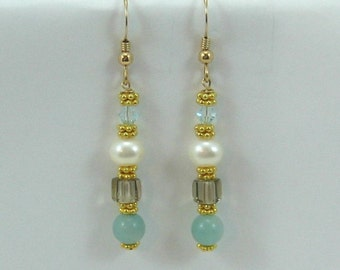 Amazonite, Smoky Quartz, Pearl and Azore Swarovski Crystal Earrings (EV1)