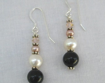 Onyx and Pearl Earrings (E21)