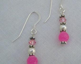 Pink Jade Earrings (E40)