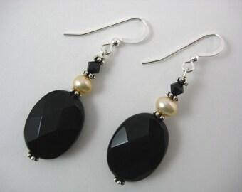 Black Onyx and Peach Pearl Earrings (E51)