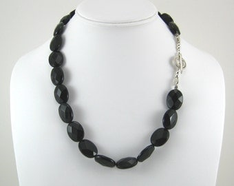 Onyx and Silver Necklace (N66)