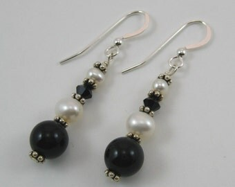 Black Onyx and Swarovski Earrings (E49)