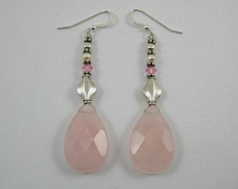 Rose Quartz and Swarovski Earrings (E57)