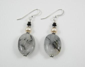 Tourmal Quartz and Swarovski Earrings (E64)