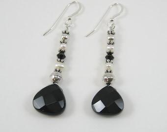 Black Onyx and Swarovski Earrings (E69)