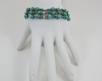 Turquoise and Swarovski Crystal Stretch Bracelet Set (B158)