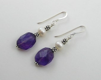 Amethyst and Pearl Earrings (E13)