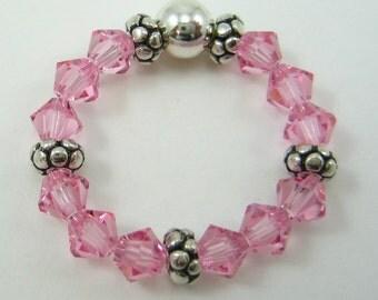 Light Pink Swarovski Crystal and Sterling Silver Stretch Ring (R40)