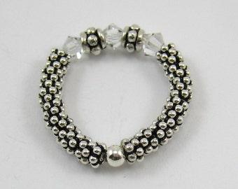 1 Sterling Silver Stretch Ring with Crystal Swarovski Crystals (R19)