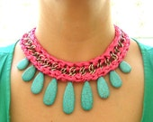Fuchsia Sateen and Turquoise Stone Necklace