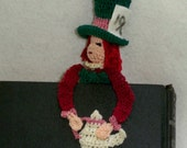 the mad hatter thread crochet bookmark, reading character bookmark