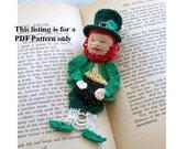 crochet bookmark PDF pattern lucky Irish leprechaun