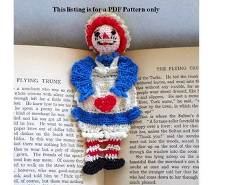 raggedy ann thread crochet bookmark DIY pattern, unique bookmark, amigurumi instructions for storybook character bookmark