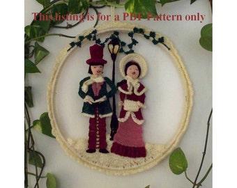 victorian carolers wall hanging pattern PDF file, Christmas crochet pattern, amigurumi DIY decoration