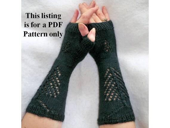 knit fingerless gloves PDF pattern pine tree & cone