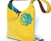 Lemon yellow velvet purse with felt flower and turquoise silk lining