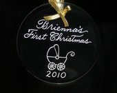 Baby's First Christmas Ornament - SHIPS in 24 HOURS!  Hand Engraved Personalized, Free Shipping in US, - 9 Shapes Available