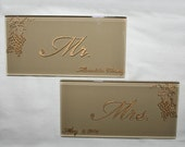 Wedding Signs, Bride and Groom, Mr. & Mrs. Hand Engraved Glass Tile, Set of Two