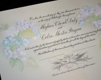 Wedding Certificate, Personalized Marriage Scroll Deposit, Custom Hand Painted