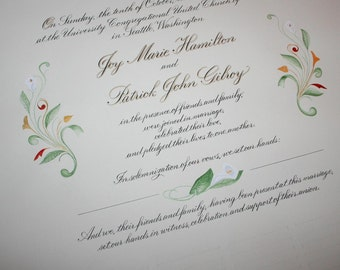 Wedding Certificate, Custom Personalized Marriage Certificate, Deposit