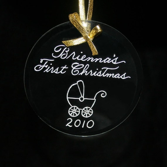Baby's First Christmas Ornament, Hand Engraved Personalized, Free Shipping in US,  9 Shapes Available