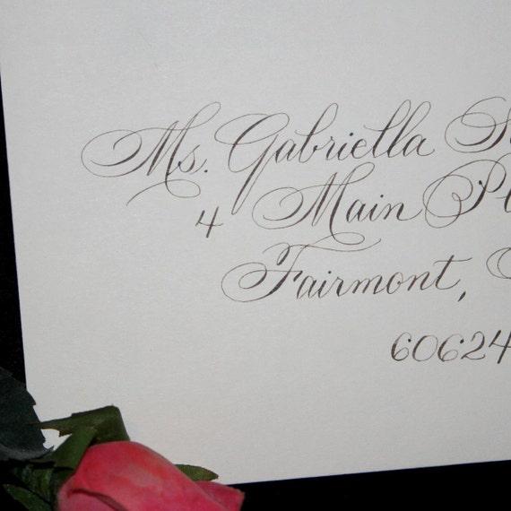 Calligraphy Wedding Envelope Addressing, Bickham Script, Dip Pen and Ink