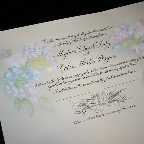 Wedding Certificate, Personalized Marriage Scroll Deposit, Custom Hand Painted