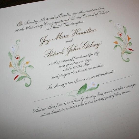 Wedding Certificate, Custom Personalized Marriage Certificate, Deposit