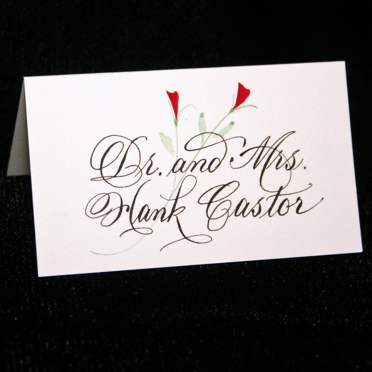 Place card calligraphy for your wedding or event