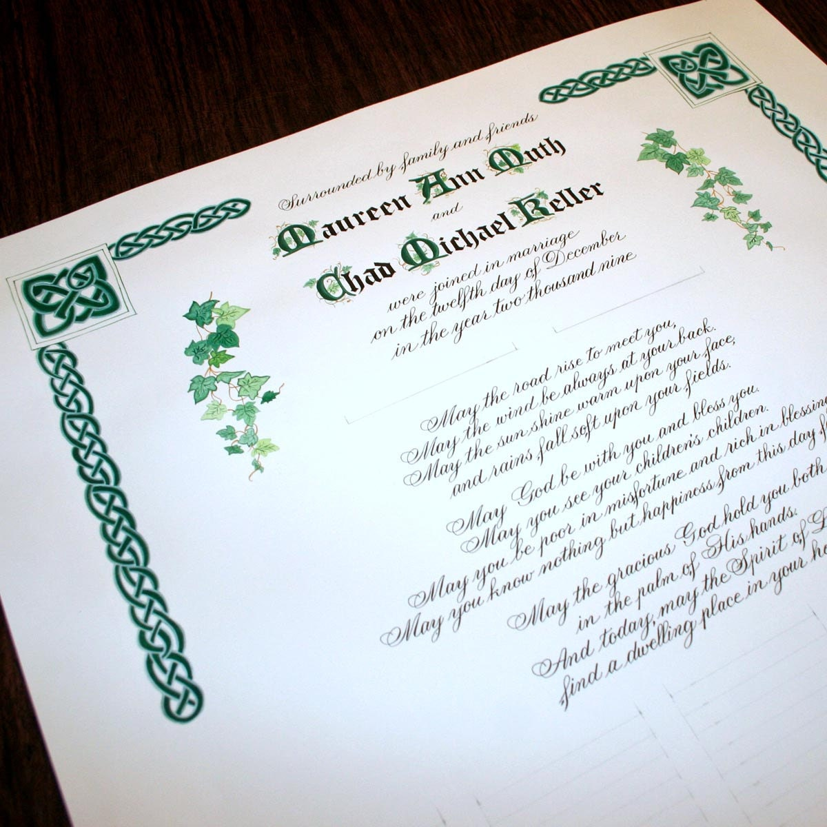 Wedding Certificate Personalized Marriage Scroll Deposit