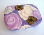Polymer Clay Millefiori Trinket Box - Monarch Butterflies with Pink and White Roses