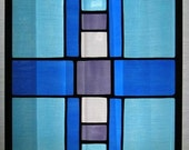 Modern Oblong Blue, Purple, and Amber Geometric Stained Glass Panel