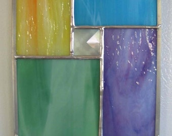 Multi-colored Modern Stained Glass Suncatcher No. 1
