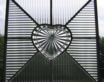Heart Shaped Dish Lid Stained Glass Suncatcher/Panel