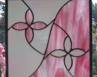 White Iridescent and Pink Stained Glass Panel