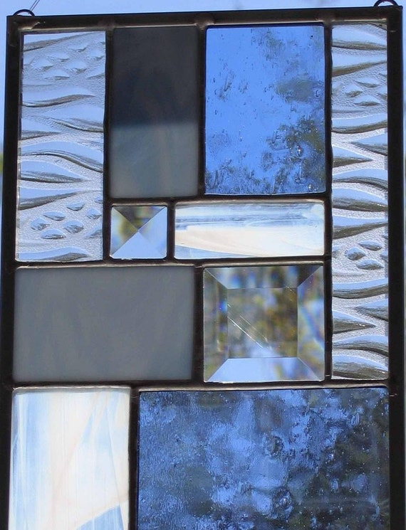 Blue, White, And Clear Modern Sampler - Stained Glass Panel