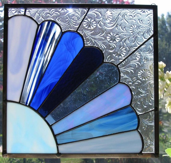 Grandmothers Fan in Blue Stained Glass Panel