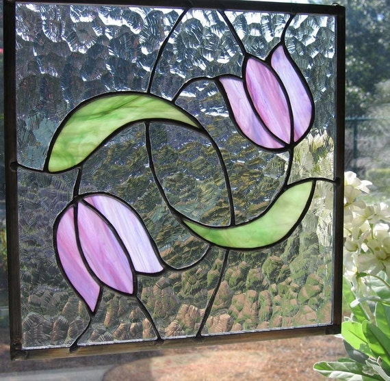 Swirling Tulips Stained Glass Panel