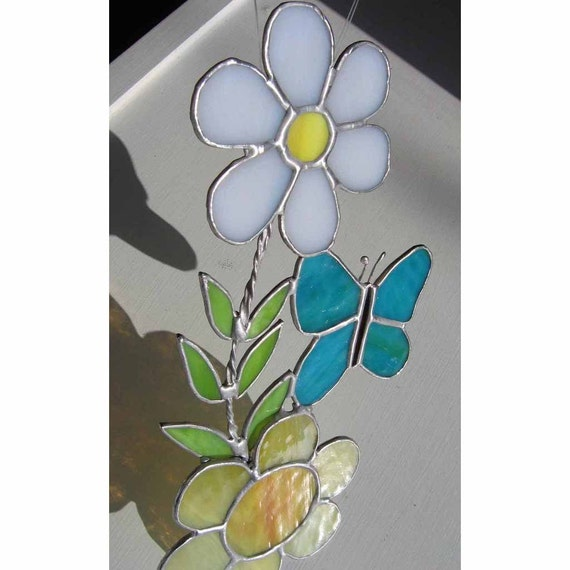 Retro Floral Stained Glass Suncatcher